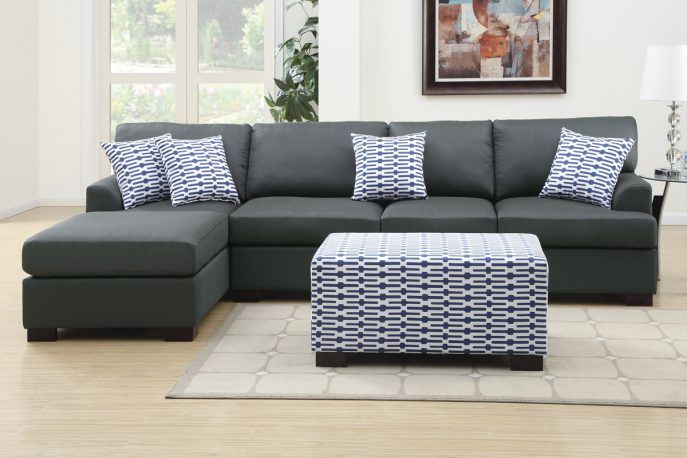 Graue Couchgarnitur Mit Chaiselongue - Gray Sectional Sofa Mit
