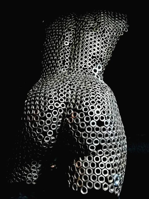 Abstract Metal wall art sculpture home decor female nude torso iron