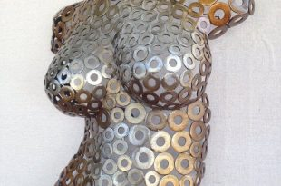 Metal Wall art sculpture abstract torso by Holly Lentz sexy nude