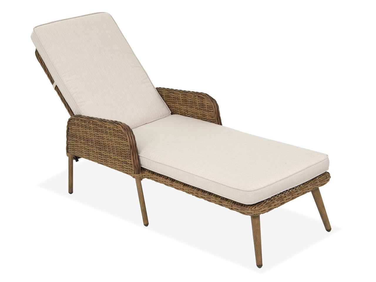 Outdoor/Patio Roma Pecan Aluminum and Outdoor Wicker Cushion Chaise