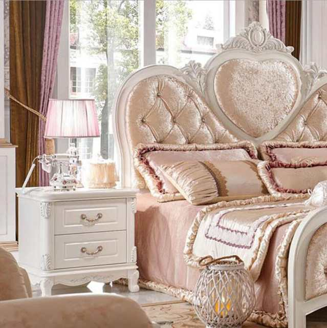 Webetop Europe Style Home Furniture Bedroom Bed set with Wooden