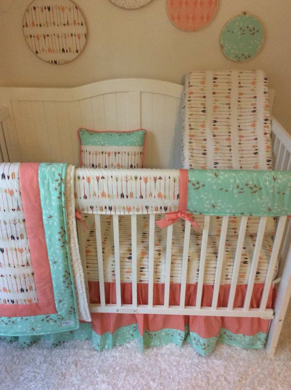 Baby Girl Crib Bedding Set Coral and Mint Birds and Arrows
