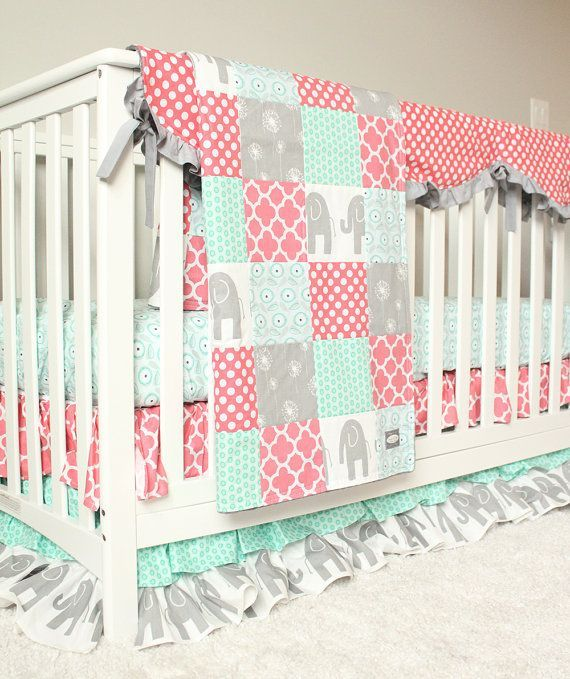 Baby Girl Bedding Coral Mint and Grey Elephant by GiggleSixBaby