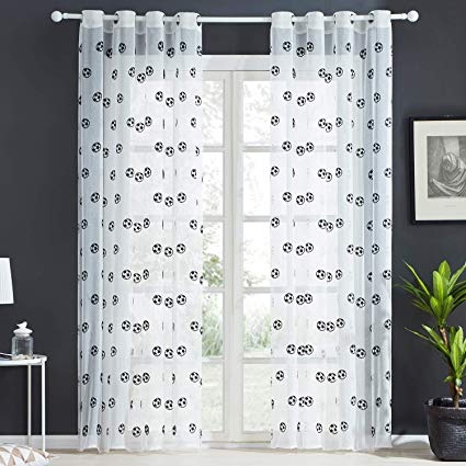 Top Finel Embroidered Soccer Net Voile Curtains for Kids Bedroom,54