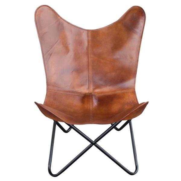 AmeriHome Natural Tanned Leather Butterfly Chair 802962 - The Home Depot
