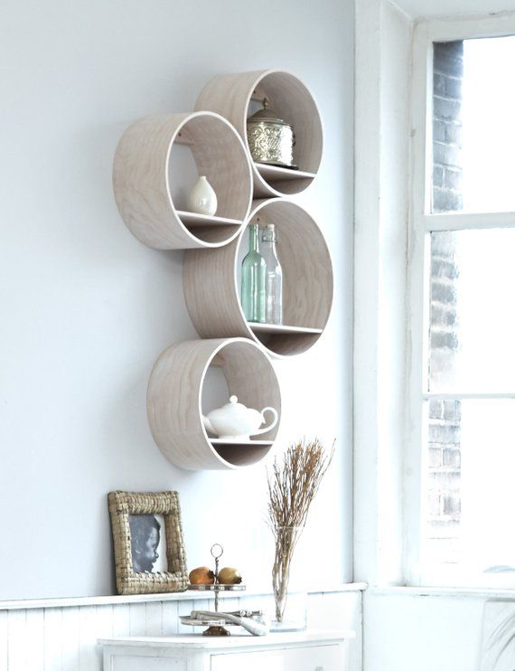 4 round wall shelves /small, wood white stained, incl. wall holder