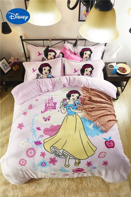 Disney Snow White Princess 3D Printed Flannel Bedding Set Twin Full