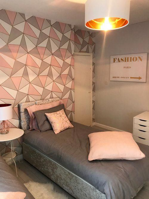 Blush and rose gold teen room #Teengirlbedroomideas | Dream house in