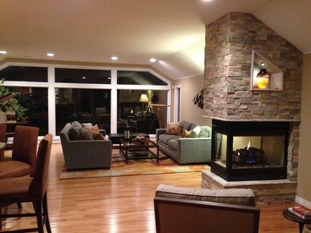3 sided fireplace images - Google Search | Kitchen & Family Room