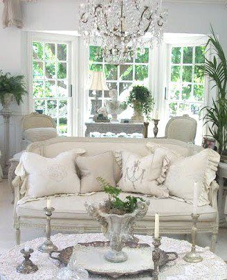 living room shabby chic french country rustic decor idea | Shabby