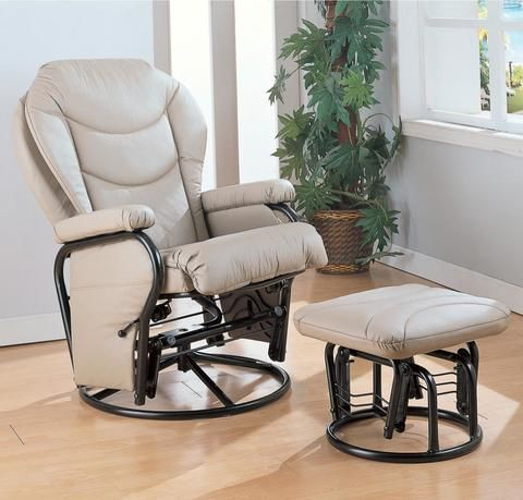 Round Base Glider With Ottoman | Accent Chairs | Recliner with