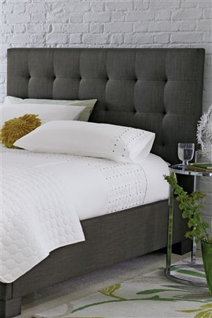 Gray Polstered Headboard Bedroom Ideas