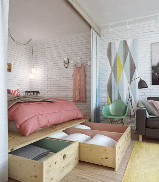 Small Apartment With Great Storage in Pastel Tones   Organization