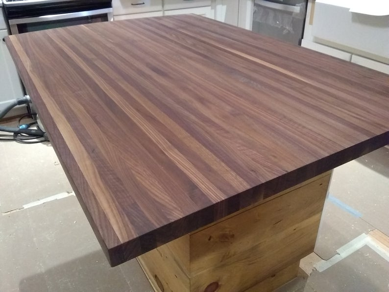 Butcher block counter top Butcher block island top Black | Etsy
