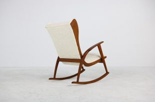 1950s Reclinable Rocking Chair with Teddy Fur and Leather Mid