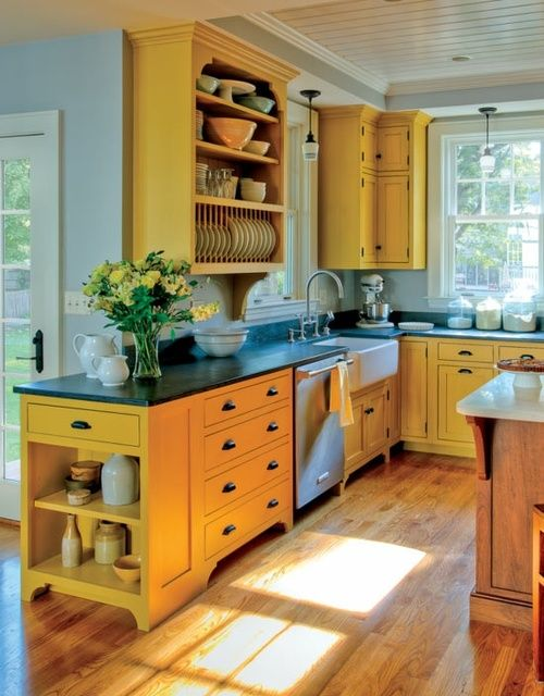 Bright yellow kitchen that works, cheerful, farmhouse chic