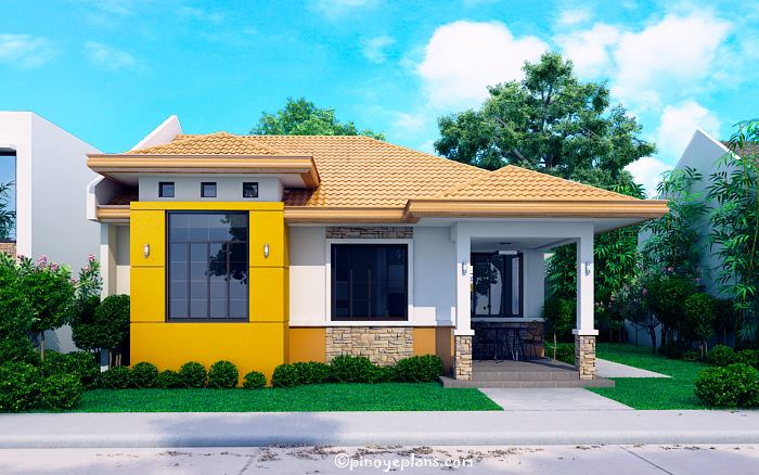 Modern Bungalow House with 3D Floor Plans and Firewall - Pinoy House
