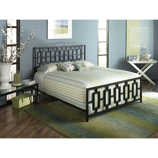 King Metal Bed Frame with Modern Square Tubing Headboard & Footboard