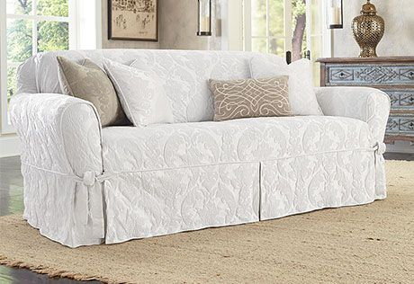 Matelasse Damask One Piece Loveseat Slipcover | For my MAN to do