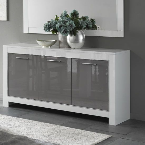Lorenz Sideboard In White And Grey High Gloss With 3 Doors in 2019