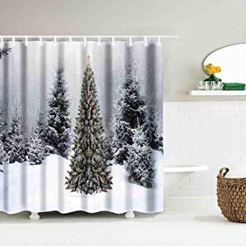 Lclrute 1 Christmas Curtain Waterproof Polyester Bathroom Shower