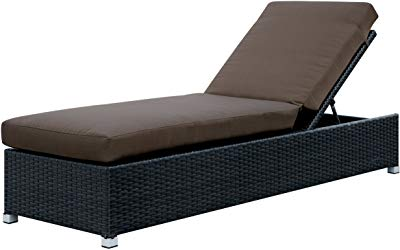 Amazon.com : Outsunny 2 Piece Outdoor Rattan Wicker Cushioned Chaise