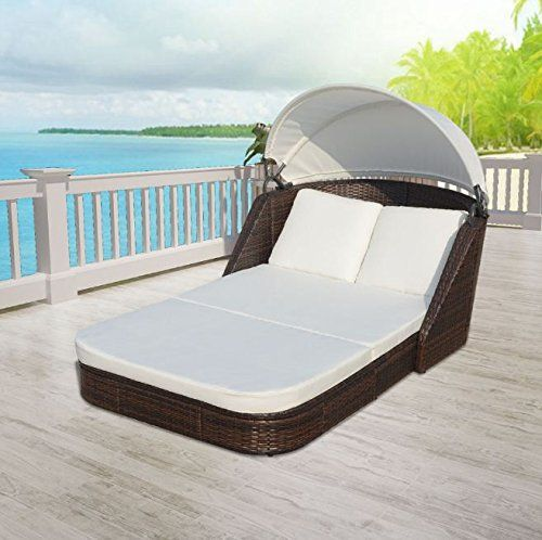 SKB Family Sun Lounger with Canopy Poly Rattan Brown Patio Chaise
