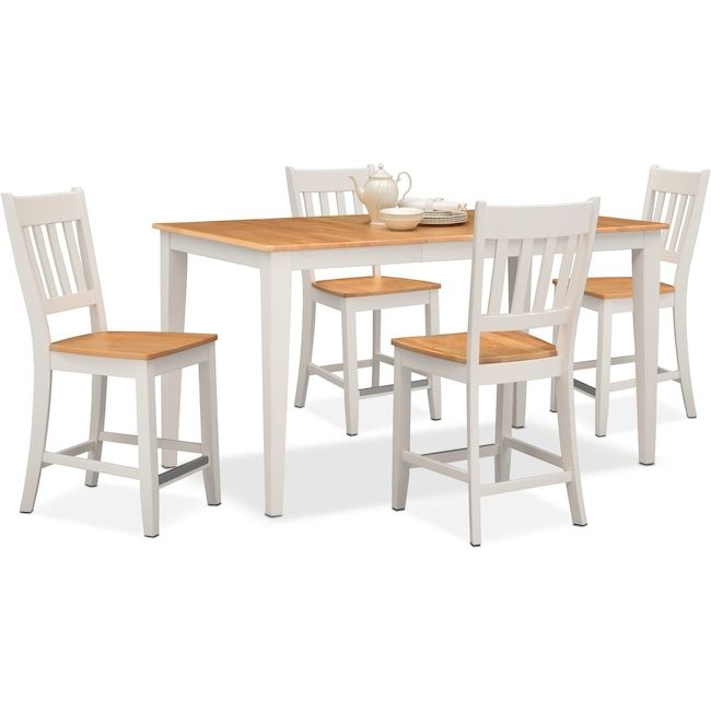 Nantucket Counter-Height Table and 4 Slat-Back Chairs | New Home