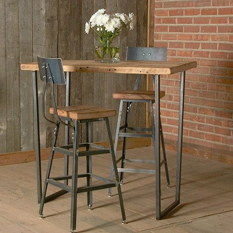 Bar Height Harvest Barn Wood Stool with steel back (1) 25