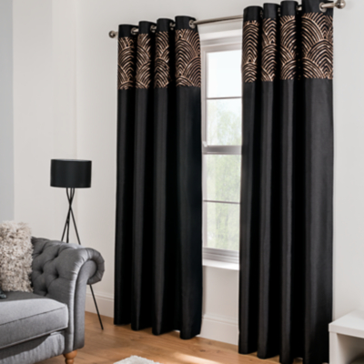Black Sequin Faux Silk Eyelet Curtains | Home | George