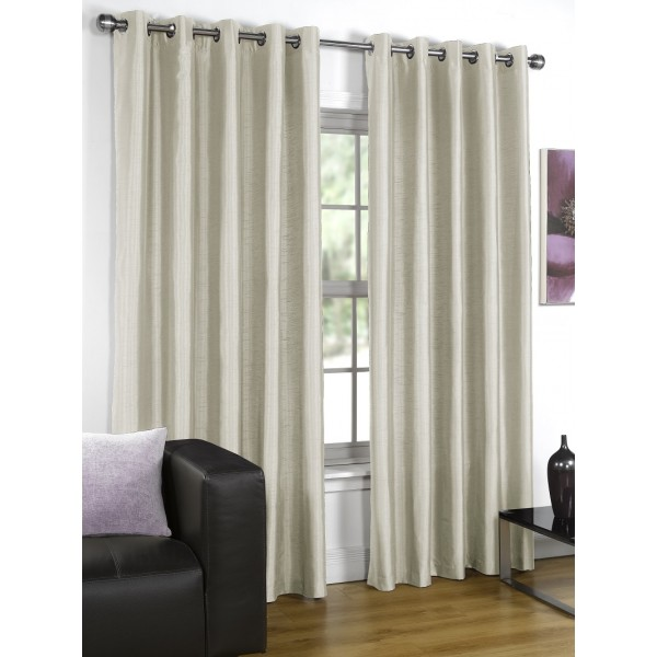 Faux Silk Cream Eyelet Curtains