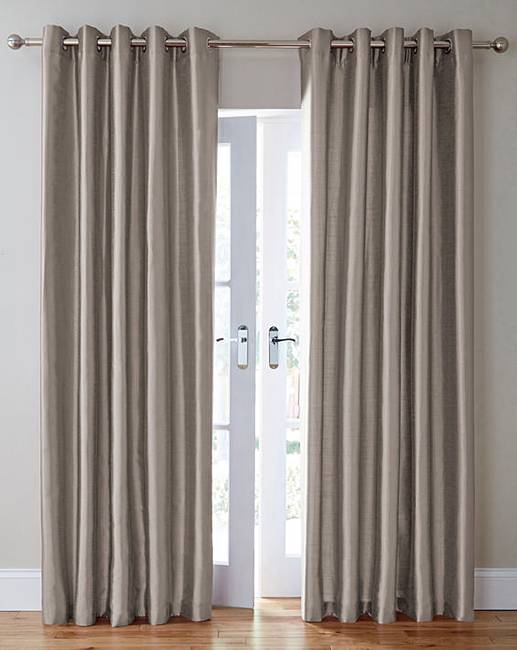 Faux Silk Long Length Eyelet Curtains | Oxendales