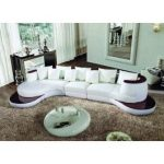 105B Modern White Leather Sectional Sofa