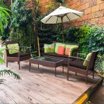 4 Pcs Patio Rattan Wicker Furniture Set Tables and Chairs  Garden Furniture Sets  HW54690