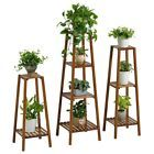 BAMBOO WOODEN SHELF PLANT STAND LADDER ORIGINAL COLOR ROUND TABLE INDOOR OUTDOOR  | eBay
