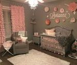 Baby gray and pink bedroom. Handmade curtains and flowers. Love, as it turned ou...