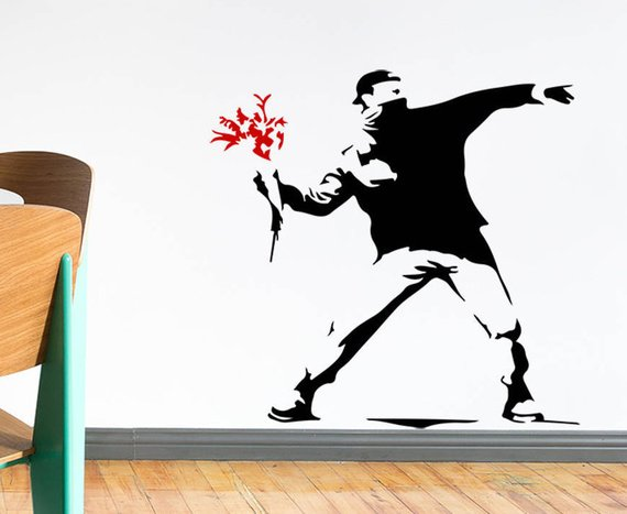 Banksy decals, Banksy decal, Banksy decor, Banksy art, Banksy wall art, Street art Banksy, Banksy stencil, Banksy flower thrower, street art