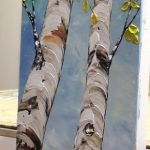 Birch Tree Painting, Triptych Wall Art, Tall Tree Painting, Colorful Art, Palette Knife, Interior Decor, Large Painting Set of 3 by Nata S.