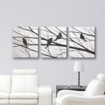 Canvas Wall Art ORIGINAL PAINTING 3 Piece Wall Art Wall Decor Large Canvas Art bird Painting of birds Black and White Art Wall hangings