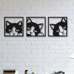 Cat 3 Pieces Metal Wall Art, Modern Rustic Wall Decor, Living Room Home Decor, Special Design New Home Gift, Black Metal Wall Art