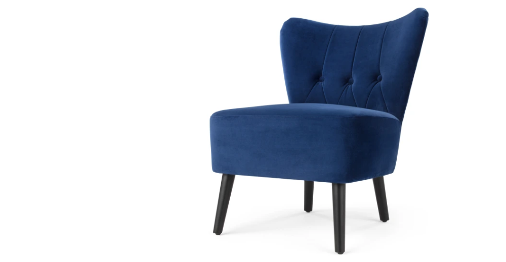 Charley Accent Armchair, Electric Blue Velvet