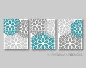 Chocolate Brown Blue Flower Print Trio  Home Petals Bloom Wall Art Bedroom Nurse…