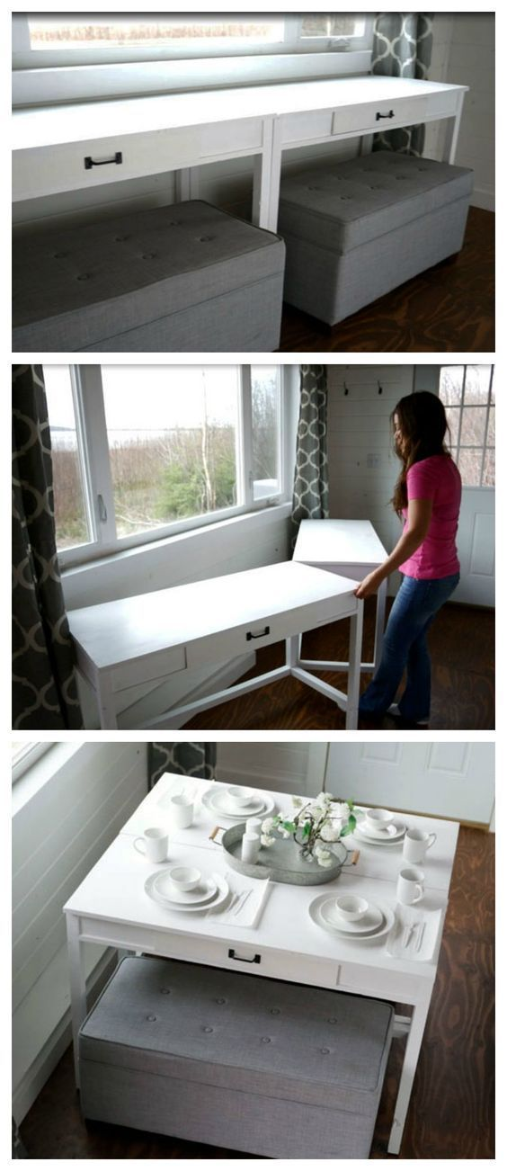 Desks that Convert to Table for our Tiny House on Wheels  | Ana White