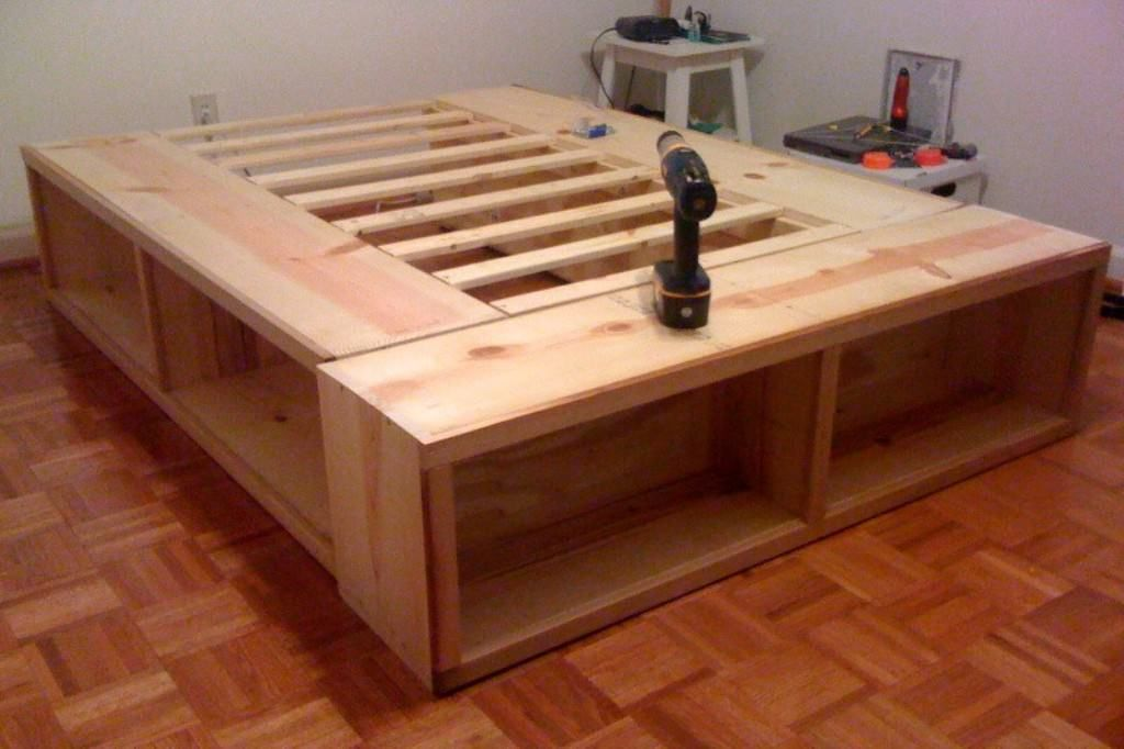 Diy Platform Bed With Storage Plans Tags: homemade platform bed with storage Fac…