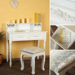 Dressing Table Vanity Table Antique White + 4 Drawers