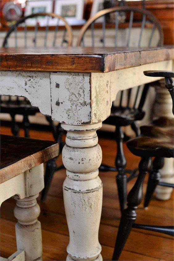 Farmhouse farm table Dining Table by the Louden Furniture Company in distressed …