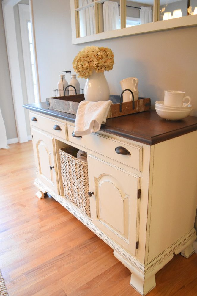 Farmhouse style dining room buffet/sideboard. Painted white, stained top. Bin pu…