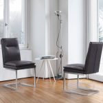 Fenton Contemporary Dining Chair in Brushed Stainless Steel Finish w/ Grey Faux Leather - Set of 2 - Armen Living LCFESIGR