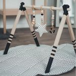 GYM, TOYS & MAT - Monochrome wooden play gym, play mat + teething toys - baby gym set - gym with hangers and mat, baby gym toys