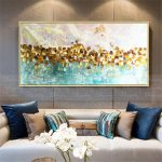 Gold art abstract paintings on canvas wall art picture for living room home wall decor original gold blue acrylic thick texture quadro decor